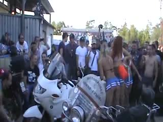 Secret Meeting of bikers with strippers