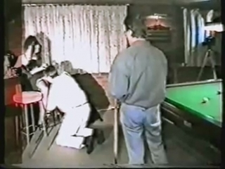 Orgy with horny sexy fuckable babe in the snooker hall ( 1980 )