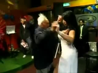 Grandpa dancing with brunette big tits
