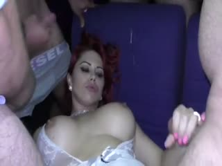 Creampie party with escort in german club