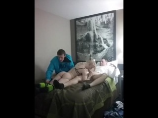 Cyber Monday's Special Offer: Blonde Escort fucks Cheap with Father and Son