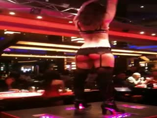 Sexy stripper in the poker room
